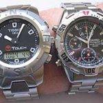 The Tissot T-Touch next to an older model Seiko Chronograph.  The Tissot has a little size on the Seiko, but I honestly think the Seiko is a little on the small side these days.  Watches continue to grow, and the size of the T-Touch is perfect.