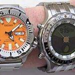 "The YES Zulu pictured next to a Seiko ""Orange Monster"". As you can see, the Zulu is about the size of a large diver. It's much lighter than the Seiko, though, due to its titanium construction."