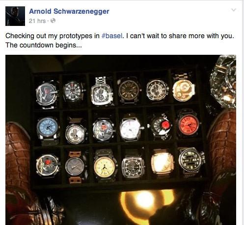 Arnold Schwarzenegger Previews Watch Line At Baselworld